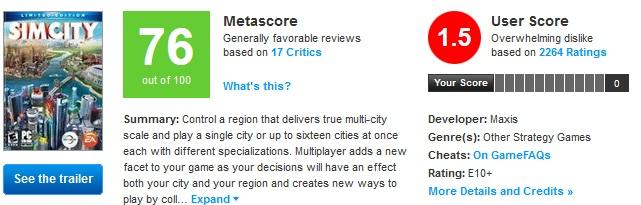 SimCity reviews