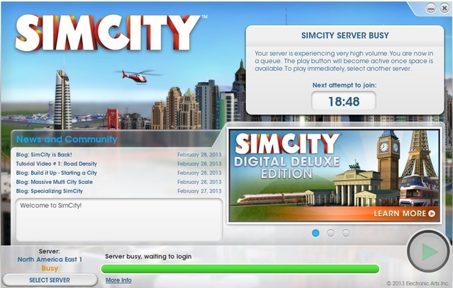 SimCity server-problemer